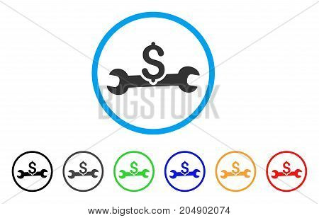 Service Cost rounded icon. Style is a flat service cost gray symbol inside light blue circle with black, gray, green, blue, red, orange versions. Vector designed for web and software interfaces.