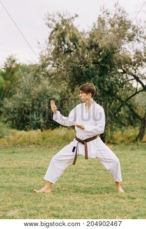 Professional young karate sportsman on a blurred park background. Japanese fighting art concept. Copy space.