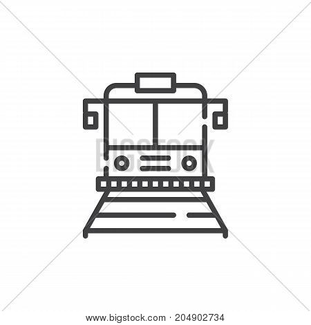 Train line icon, outline vector sign, linear style pictogram isolated on white. Symbol, logo illustration. Editable stroke