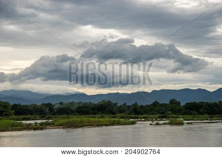 Landscape of river and mountain in rural of Thailand