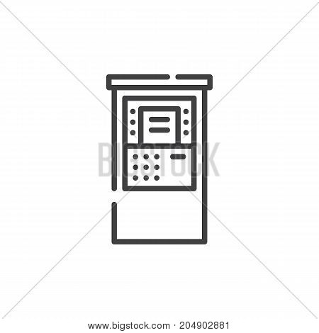 Atm line icon, outline vector sign, linear style pictogram isolated on white. Symbol, logo illustration. Editable stroke