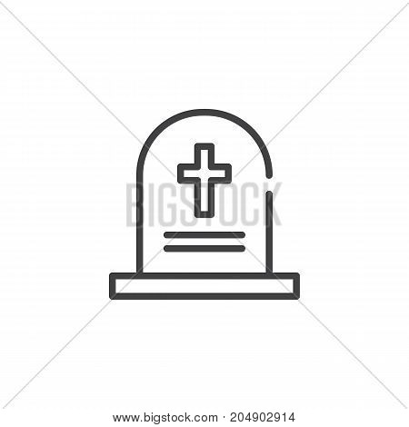 Tombstone line icon, outline vector sign, linear style pictogram isolated on white. Symbol, logo illustration. Editable stroke