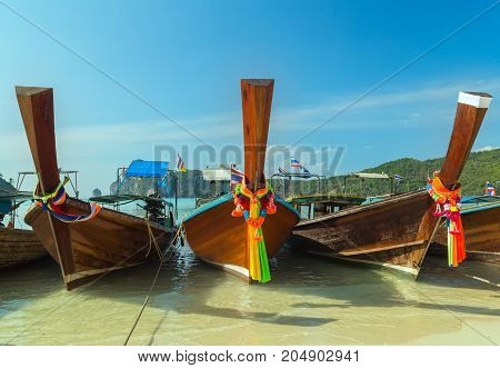 Boats On Beach Island In Thailand
