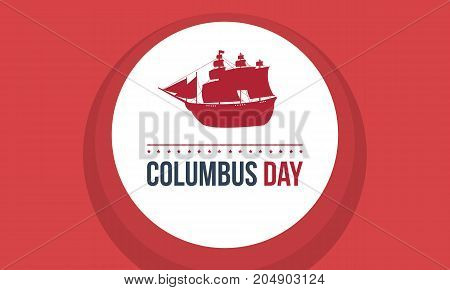 Columbus day on red background vector illustration