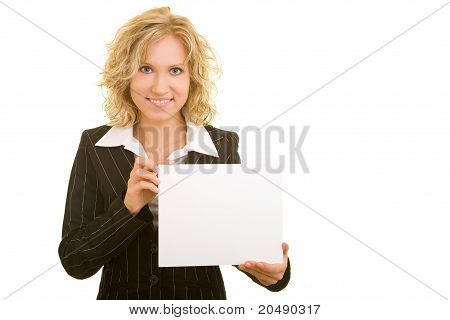 Business Woman With Empty Cardboard
