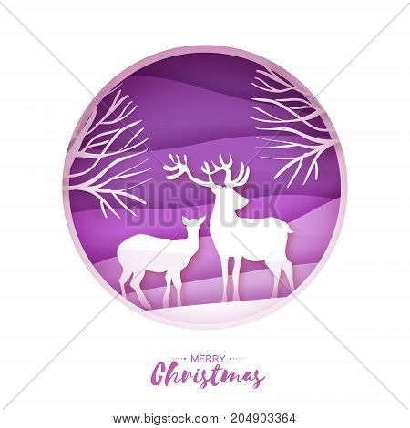 Deer couple in snowy forest. Merry Christmas Greeting card. Origami snowy winter season. Happy hplidays. New Year. Paper art style. Birch tree trunk. Purple background. Vector illustration