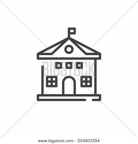 School building line icon, outline vector sign, linear style pictogram isolated on white. Symbol, logo illustration. Editable stroke
