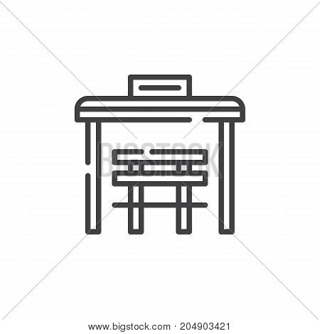 Bus stop line icon, outline vector sign, linear style pictogram isolated on white. Symbol, logo illustration. Editable stroke