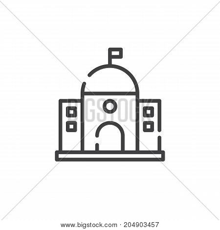 Capitol building line icon, outline vector sign, linear style pictogram isolated on white. Symbol, logo illustration. Editable stroke