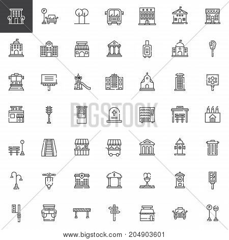 Urban infrastructure line icons set, outline vector symbol collection, linear pictogram pack. Signs, logo illustration. Set includes icons as playground, buildings, bus stop, high service, road map