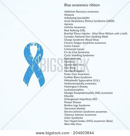Painted awareness ribbon. Blue isolated icon. List of meanings, symbol, name of color