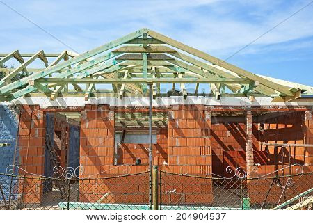 Construction of a new family house in summer