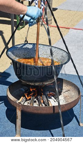 Cooking goulash outdoor in summer time food