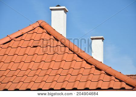 Roof of a new house in summer