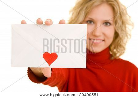Woman Showing A Love Letter