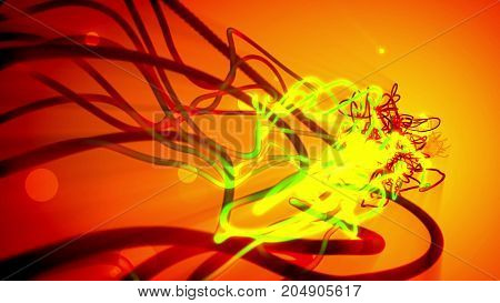 Abstract Entangled Strokes With Tubes And Circles