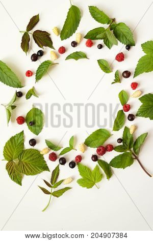 Composition With Fresh Mint Leaves And Red Raspberries And Black