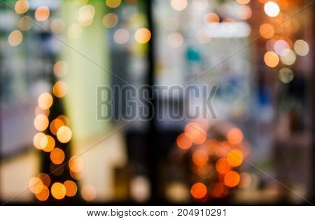 Abstract Background Of Blurred Lights In Window
