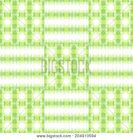 Abstract of striped green leaves texture; chequered pattern; symmetrical, seamless, and repeatable. Square shape and can be joined to each side for use as wallpaper/background/backdrop, print on paper/sheet for wrapping gift