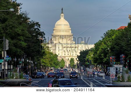 Pennsylvania Avenue and Capitol Building at sunset on June 18, 2017 in Washington DC.