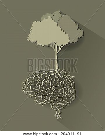tree with brain root vector style paper cut.