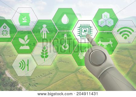smart farmingindustrial agriculture concept with artificial intelligence(ai). Smart Farmer use robot and augmented reality technology to researchcollectcontrol monitor and management in the field