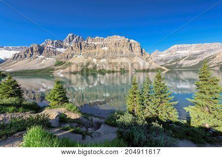 Beautiful Bow Lake near Icefields Parkway, Banff, Rocky Mountains, Alberta, Canada