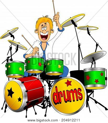 cheerful drummer playing drums vector and illustration