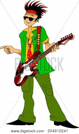 cheerful guitarist in green suit with red guitar vector and illustration