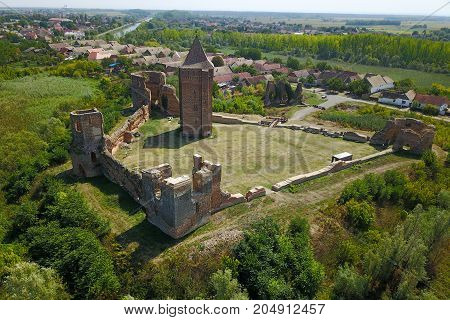 Air view of town and ruins of Bac fortress in Serbia province Vojvodina