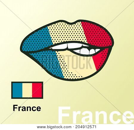Vector illustration of lip painted France flag isolated, foreign language national symbols