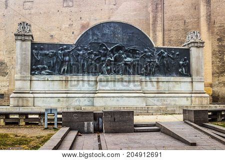 Monument dedicated to Giuseppe Verdi in Parma Italy. The altar was designed in the beginning of the 20th century.