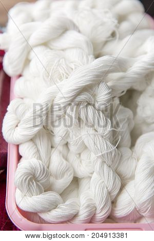 white colors of cotton yarns - stock image