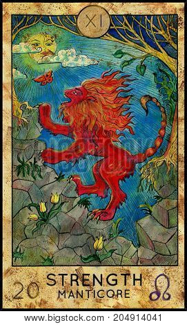 Strength. Manticore. Red beast. Fantasy Creatures Tarot full deck. Major arcana. Hand drawn graphic illustration, engraved colorful painting with occult symbols