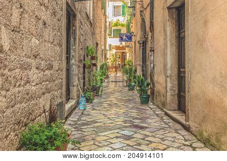 Kotor, Montenegro - August 24, 2017:  Street of the old city of  Kotor , Montenegro. The old part of the city is a UNESCO World Heritage Site and a famous tourist attraction.