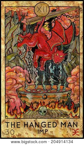 Hanged Man. Imp in hell. Fantasy Creatures Tarot full deck. Major arcana. Hand drawn graphic illustration, engraved colorful painting with occult symbols