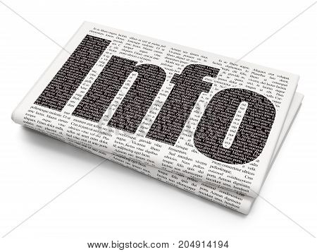 Information concept: Pixelated black text Info on Newspaper background, 3D rendering