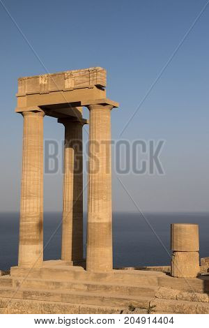 Acropolis of Lindos ancient temple in Rhodes towers in the Doric style