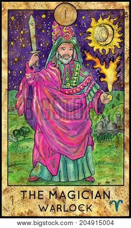 Magician. Warlock. Fantasy Creatures Tarot full deck. Major arcana. Hand drawn graphic illustration, engraved colorful painting with occult symbols