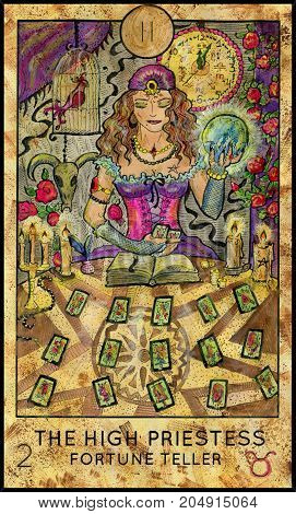 High Priestess. Fortune Teller. Fantasy Creatures Tarot full deck. Major arcana. Hand drawn graphic illustration, engraved colorful painting with occult symbols