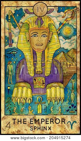 Emperor. Sphinx. Fantasy Creatures Tarot full deck. Major arcana. Hand drawn graphic illustration, engraved colorful painting with occult symbols