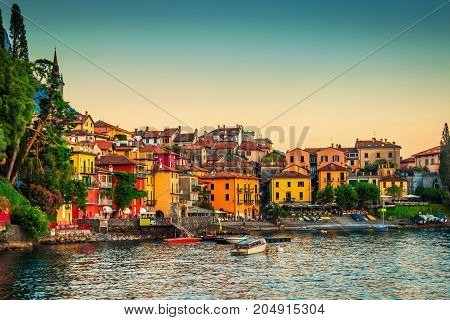 View of many color buildings in Varenna Como lake Italy.
