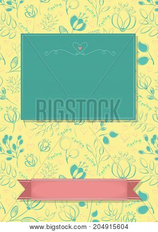 Floral greeting card. Blue flowers and plants. Green and pink banners for custom text. Decor with red heart. Yellow background