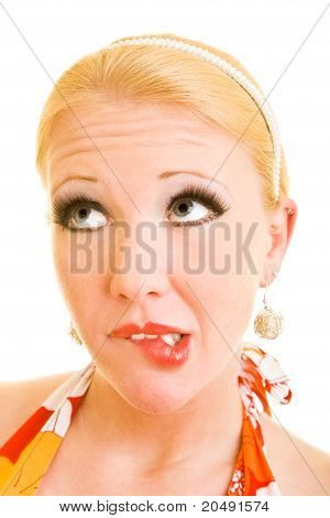 Blonde Woman Biting On Her Lips