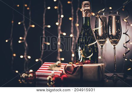 Glasses Of Champagne And Presents