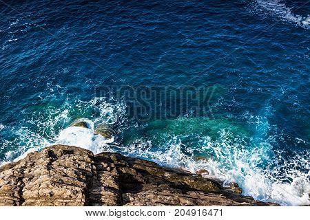 Rocky coast line and sea waves. Seascape