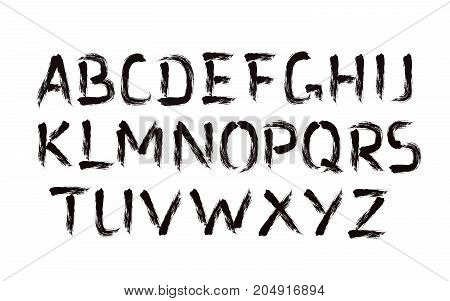 Vector Font. Brush strokes bold type. Grunge ABC. Painted letters design