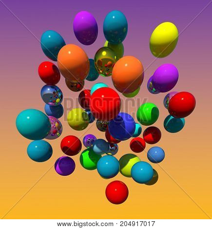Flying colorful balloons 3D illustration on gradient sky background. Collection.