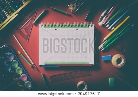 Blank Notepad With School Supplies, Office Stationery