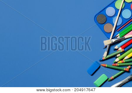 School And Office Stationery, Blue Background, Copyspace